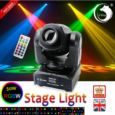 U`King 50W LED Moving Head GOBO DMX Stage Light Remote DJ Wedding Party Disco • 85.99£