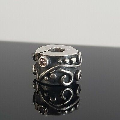 AU28 • Buy  Pandora Pink Cubic Zirconia Swirl Tendril Silver Clip 790380 Free Tracked Post