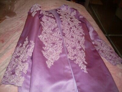 Ladies Beautiful Lilac Size 14 Bust 38 Suit With Lace All Over 36 Length Dress  • 39.99£