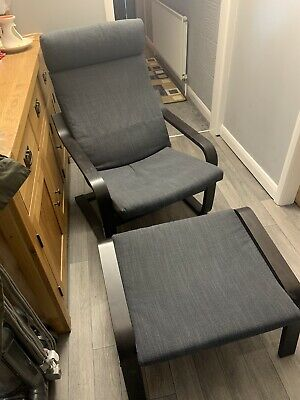 Grey Ikea Poang Chair And Footstool • 55£
