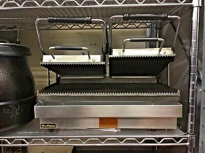 Buffalo Clamp Grill Double Panini Press Ribbed Contact Grill Commercial Catering • 209.99£