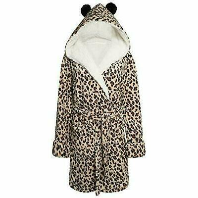 AU35.65 • Buy Ladies Soft Fleece Leopard Print Hooded Dressing Gown XS,S ,M