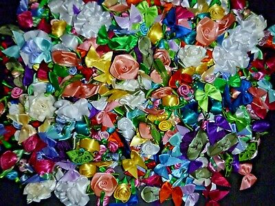 200+ Satin Ribbon Roses And Bows Applique Trim Sewing Bow Craft New Colors • 8.61£