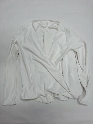 $ CDN33.03 • Buy Lululemon Workout Athletic Long Sleeve Shirt Cardigan In White Size 8 +Perfect+