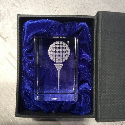 Laser Cut Golf Ball & Tee In Solid Lead Crystal Block Paperweight In Display Box • 15£