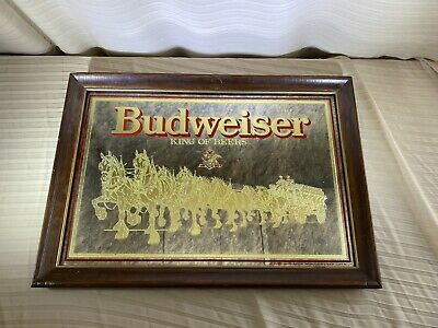 $ CDN37.97 • Buy Vintage Budweiser Clydesdale Mirror Sign 20.5x14.5 Smoked Glass Gold 1989 NICE