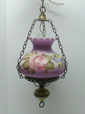 $ CDN126.86 • Buy Vintage Gone With The Wind GWTW Purple Hanging Glass Lamp Painted Rose/Flowers