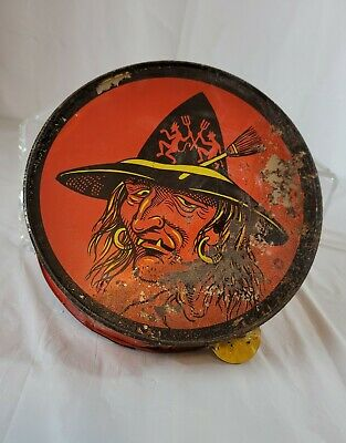 $ CDN27.28 • Buy Vintage Halloween Tin Litho Tambourine Witch Devil Hat Cat Noisemaker Old