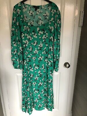 New Look Green Floral Square Neck Mididress Size 12 • 5£