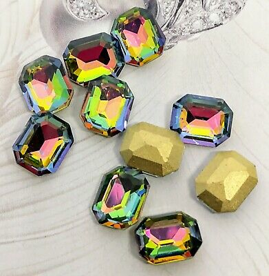 £1.99 • Buy 10 Pcs Gems Chaton Crystals Purple Green Grade A Pointed Back Rectangle Octagon