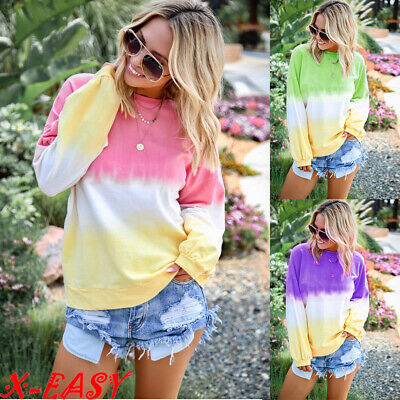 £11.59 • Buy Womens Casual Tie-dyed Long Sleeve Tops Blouse Ladies Pullover Loose T-shirt Top
