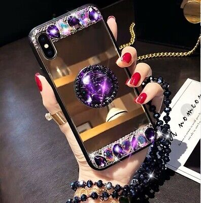 AU9.15 • Buy New Hot Luxury Fashion Diamond Mirror Bracket Chain Case Cover For Various Phone