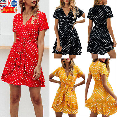 BOHO Women V-Neck Polka Dot Mini Dress Ladies Summer Holiday Beach Sundress UK • 12.95£