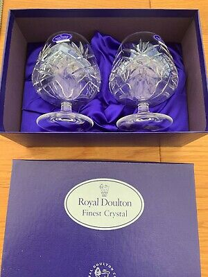 £40 • Buy Royal Doulton Finest Crystal Juliette Two Brandy Glasses Boxed And Unused