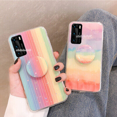 Rainbow Phone Case Cover For Huawei P20 P30 Lite Y6 7 P Smart 2019 Socket Holder • 3.99£