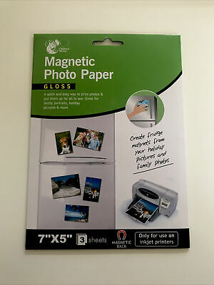 """£2.75 • Buy Magnetic Photo Paper Gloss Use Inkjet Printer Great Family Photo 7""""x5"""" 3 Sheets"""