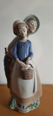 "NAO LLADRO BOY & GIRL COURTING COUPLE FIGURINE BASKET 12"" Tall VGC • 25£"