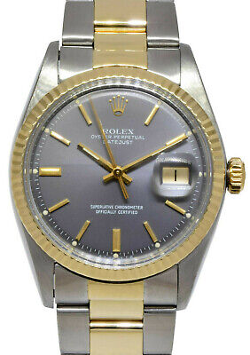 $ CDN6881.17 • Buy Rolex Datejust 14k Yellow Gold/Steel Gray Dial Mens Oyster 36mm Watch 1601