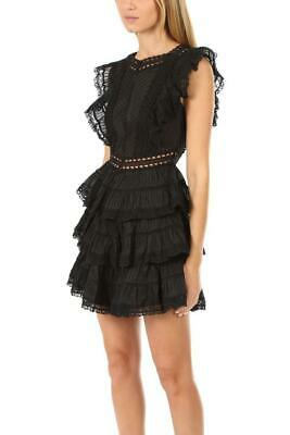 $285 • Buy ZIMMERMANN NWT $850 Black Juniper Pintuck Embroidered Lace Tiered Mini Dress 1/S