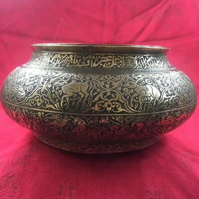 $ CDN48.27 • Buy GORGEOUS ANTIQUE C. 1900 PERSIAN QAJAR BRASS FARS BOWL / POT WITH FIGURAL DESIGN