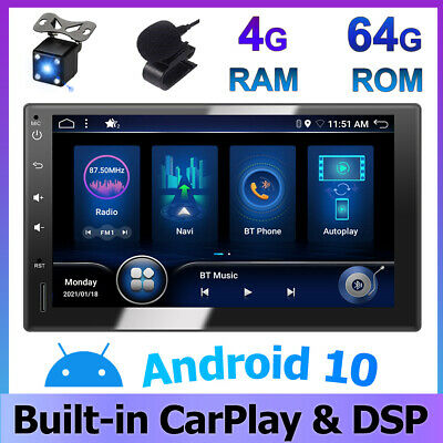 AU265.71 • Buy DSP CarPlay 7  Android 10 Double 2DIN GPS Car Stereo Head Unit FM/AM 4GB+64GB Bt