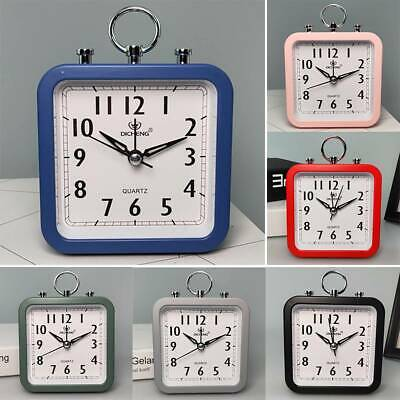 AU17.39 • Buy Retro Square Bedside Table Snooze Travel Office Home Analogue Silent Alarm Clock