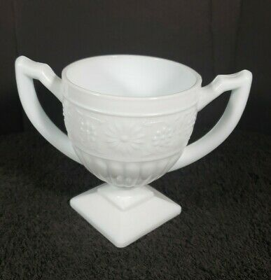 $9.95 • Buy Vintage Double Handle Square Footed Floral Milk Glass Open Sugar Bowl Dish