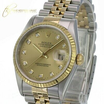$ CDN9445.48 • Buy Rolex Mens Datejust 16233 Factory Champagne Diamond Dial 36mm With Papers