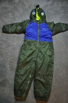 Regatta Fleece Lined Frog Hood Waterproof Rain Splash Puddle Suit 24-36m 2-3y • 14£