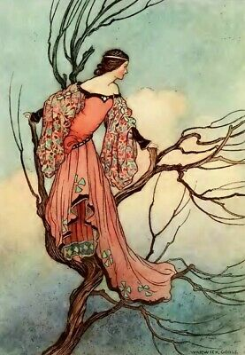 Furniture Decal Image Transfer A4 VINTAGE LADY IN TREE #FAIRYTALE #RED # UPCYCLE • 5.99£