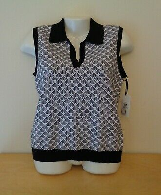 $ CDN22.67 • Buy W By Worth Polo Geo Pullover Sweater Vest Tank Top Black & White Size Small