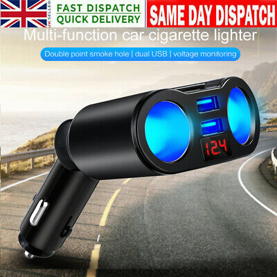 2Way Car Cigar Lighter Splitter Multi Socket Dual USB Plug Charger 12-24V New UK • 7.19£
