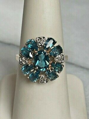 £159.30 • Buy Yellow Gold Blue Topaz & Diamond Cocktail Ring Size 7