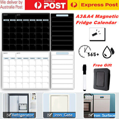 AU22.49 • Buy A3+A4 Magnetic Monthly Planner Fridge Magnets Calendar 1 Markers & 1 Eraser Home