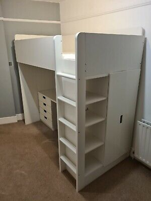 IKEA Stuva White Loft Cabin Bunk Bed Wardrobe Desk Drawers Shelves White Kids • 30£