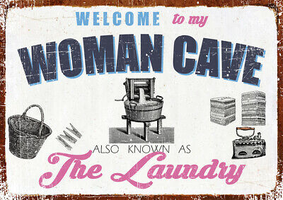 £7.99 • Buy Novelty Woman Cave  The Laundry  Retro Metal Sign Funny Sign Mother's Day Gift