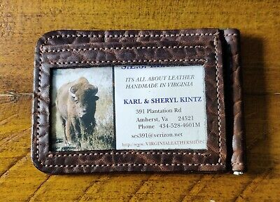 $ CDN69.77 • Buy American Bison Leather Wallet With Money Clip And ID Window Handmade