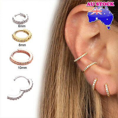 AU5.79 • Buy Wholesale 1pc Mini Crystal Huggie Bar Ear Tragus Helix Piercing Post Earring