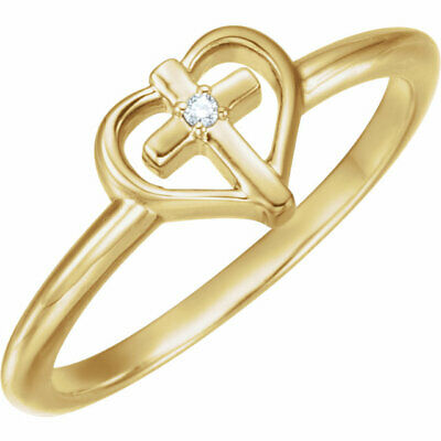 AU509.14 • Buy Diamond Cross With Heart Ring In 14K Yellow Gold