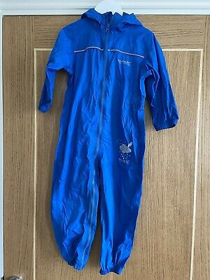 Regatta Puddle Rain Suit Waterproof  All In One Blue Age 3-4 Girl Boy • 3.70£
