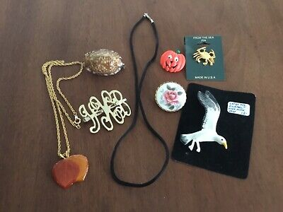 $ CDN3.79 • Buy Jewelry Lot Brooches Seagull Crab Shell Cord With Sterling Clasp