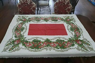 $ CDN45.44 • Buy Vintage 48  X 56  Christmas HOLLY BERRY Tablecloth VERY NICE