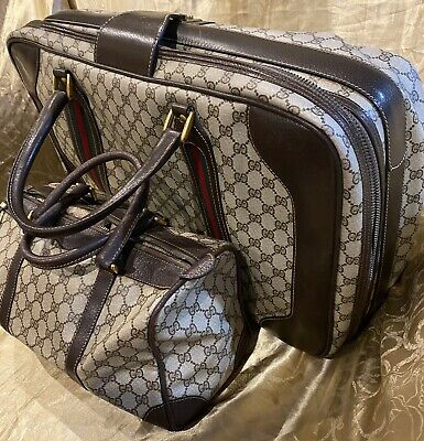 AU550 • Buy Authentic Gucci Travel Set Suitcase & Boston Bag Monogram Brown Water Resistant