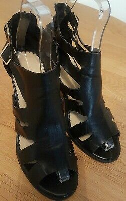 Gorgeous Black Leather Look, Cage Sandals By 'Dune' Size 5. • 6.20£