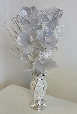 £29.90 • Buy White Bling Glittery Mosaic Mirror Decorated 30cm Vase With Silver Flowers