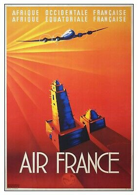 Vintage Air France Africa Travel Poster Reproduction Print Picture Wall Art  • 2.99£