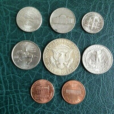 Set Of 8 Coins From America U.s.a 1967 Kennedy Half Dollar And More • 0.99£