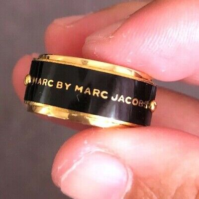 £38.13 • Buy Marc By Marc Jacobs Enamel Plaque Black Gold Ring Size 7 Unisex