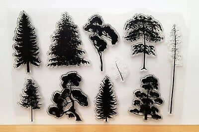 £3.99 • Buy Silhouette Trees Clear Stamps - 10 Different Trees