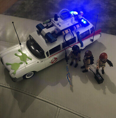 Ghostbusters ECTO 1 Car By Playmobil And Three Figures Lights & Sounds Working • 33.99£